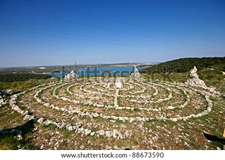 New age healing labirinth - stock photo