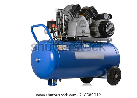 New air compressor on a white background. - stock photo