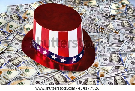 New American Hundred dollar bills under Uncle Sam Hat. - stock photo