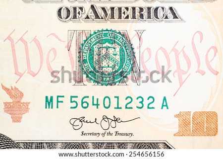 New American ten dollar bill �¢?? some details of the new design. - stock photo