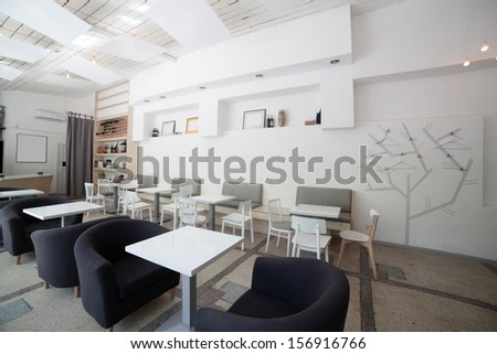 new and clean luxury restaurant in european style - stock photo