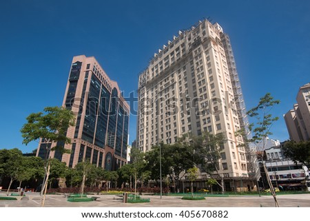 New and Old Commercial Buildings in Rio de Janeiro City - stock photo