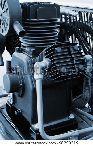 new and powerful motor in a modern workshop - stock photo