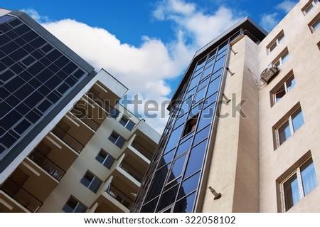 new apartment buildings closeup - stock photo