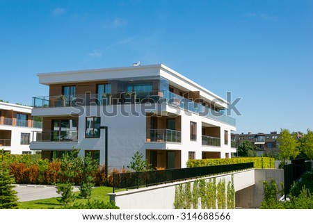 new apartment house in city - stock photo