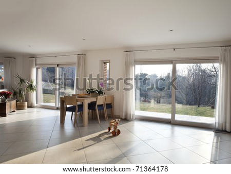 new apartment, large living room - stock photo