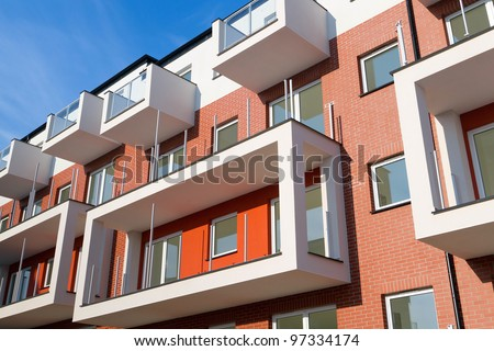 New apartments for sale over blue sky - stock photo