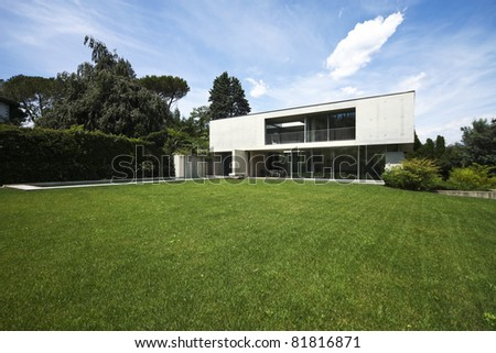 new architecture, beautiful modern house outdoors - stock photo