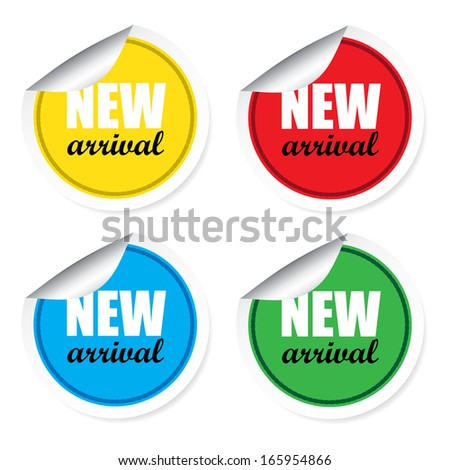 New arrival colorful labels, stickers, signs and tags. - stock photo