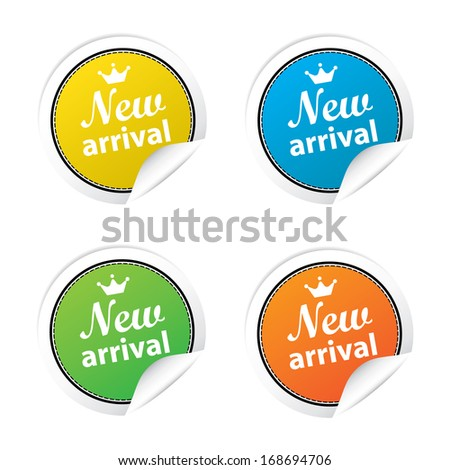 New arrival labels. jpg format. - stock photo