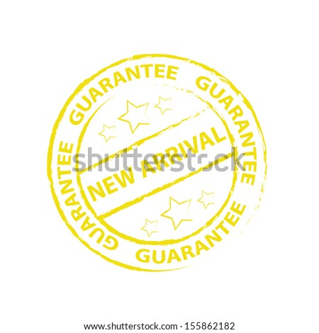 New arrival Rubber stamp, sticker, tag, icon, symbol with yellow color, isolated on white background - jpg format. - stock photo