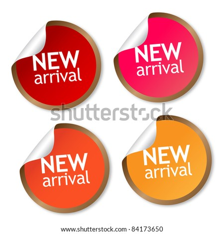 New arrival stickers - stock photo