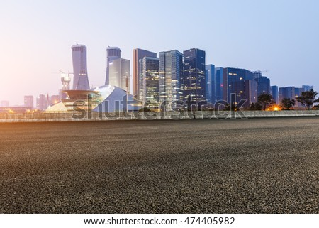new asphalt road and the beautiful Cityscape in hangzhou