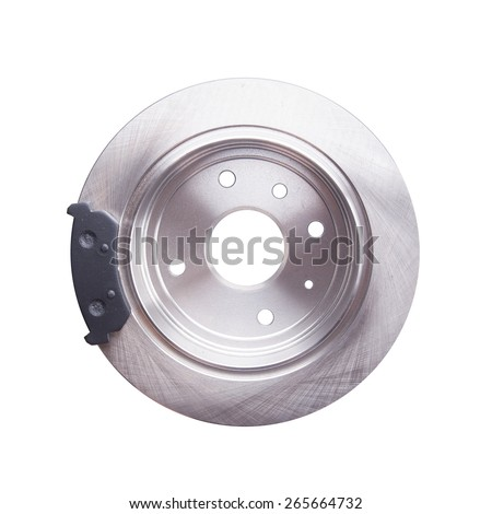New back brake disks and pads for a modern car - stock photo