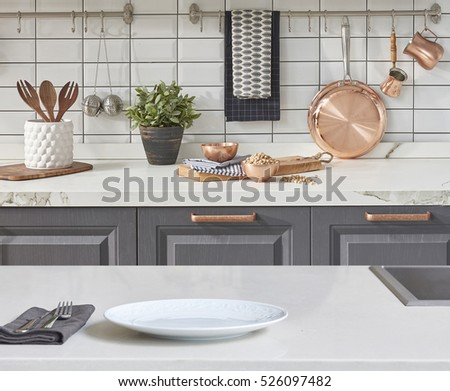 Interior White Kitchen Accessories new background white table modern kitchen stock photo 526111498 with accessories interior design