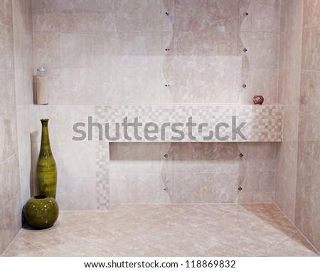 New Bathroom interior made of stone - stock photo