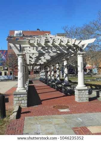 New Bedford, Massachusetts, USA - March 10, 2018: Walkway at Fifty-Fourth Regiment Massachusetts Volunteer Infantry Plaza, memorial to the Union Army's men of color from New Bedford, Massachusetts