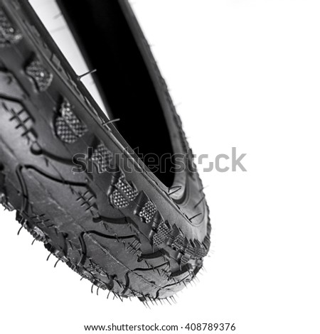 new bicycle tire isolate on white background - stock photo