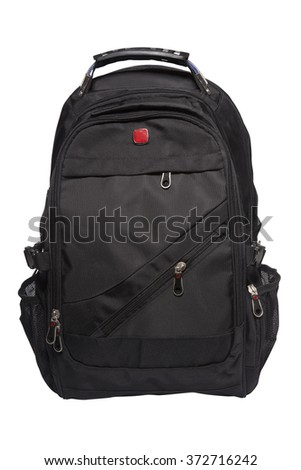 New big black rucksack isolated on white background