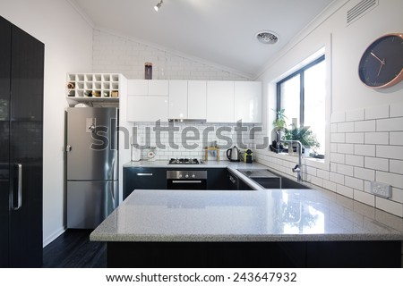 new black white contemporary kitchen subway stock photo 243647932