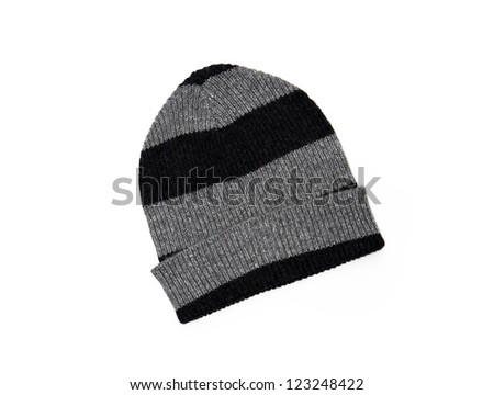 New black and white striped knit hat isolated on white background - stock photo