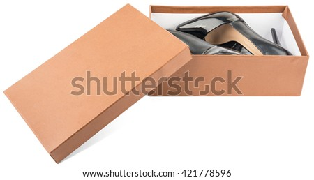 New black leather high heel shoes in box isolated on white background - stock photo