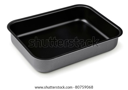 New black  nonstick coating roasting pan isolated on white - stock photo