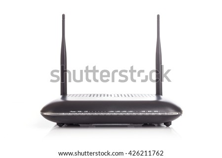 New black Wireless Router isolated on white background - stock photo