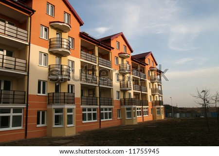 new block of flats - stock photo