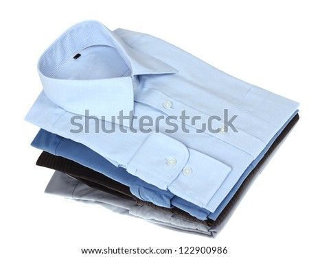New blue and grey man's shirts, isolated over a white background - stock photo