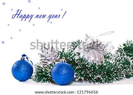 New blue and white balloons on a white background - stock photo