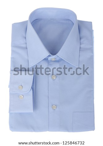 new blue man's shirt isolated over a white background - stock photo