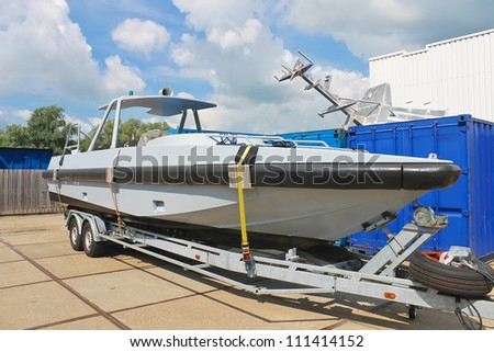 New boat on a trailer in a Dutch shipyard. Netherlands - stock photo