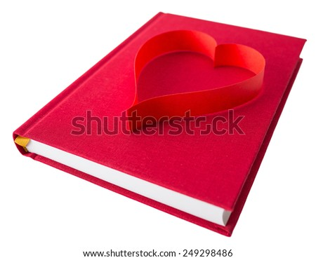 new book in red hard cover and paper tape in the shape of heart isolated on white background isolated on white background - stock photo