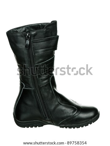 New boots children fashion on white background