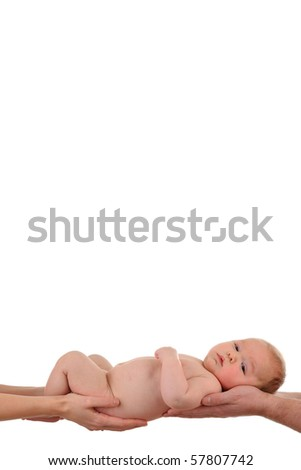 New born baby is held by his parents, isolated on white.