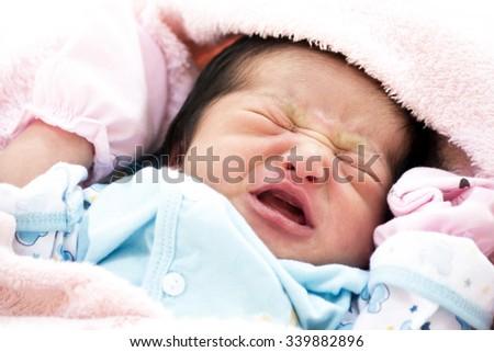 new born crying - stock photo