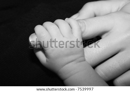 new born fingers - stock photo