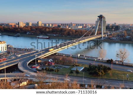 New bridge from castle - Bratislava, Slovakia - stock photo