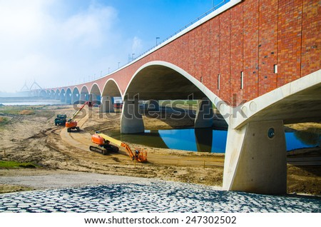 New bridge in Nijmegen - stock photo