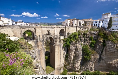New bridge in Ronda, one of the famous white villages in Andalucia, Spain