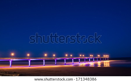 New Brighton pier in the night - stock photo