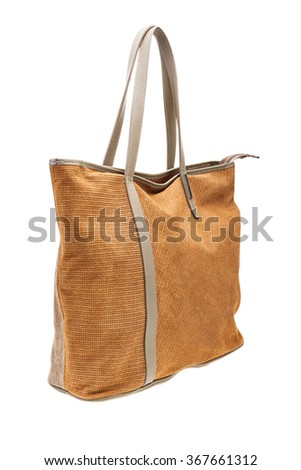 New brown womens bag isolated on white background. - stock photo