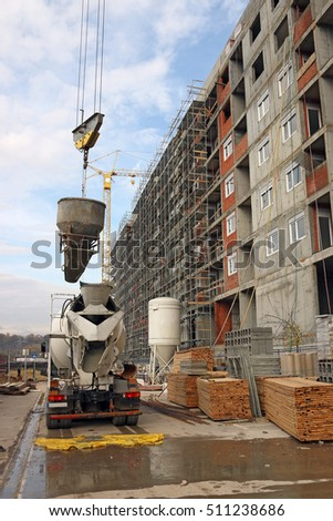 new building construction site with machinery