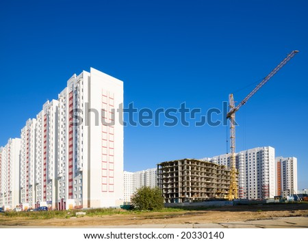 New buildings on blue sky background.