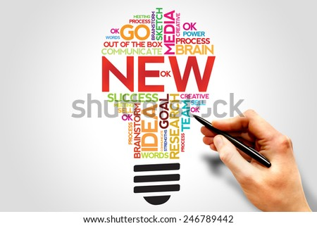 NEW bulb, word cloud, business concept - stock photo