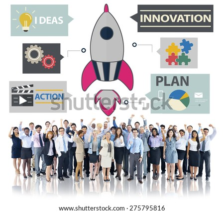 New Business Innovation Strategy Technology Ideas Concept - stock photo