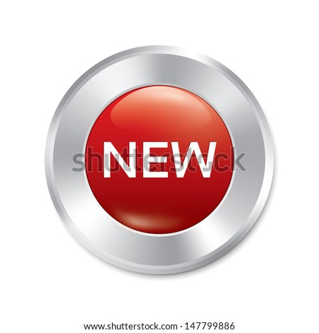 New button. New red round sticker. Realistic metallic icon with gradient. Isolated. - stock photo