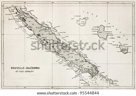 New Caledonia and Loyalty Island old map. After Bouquet de la Grye, published on Le Tour Du Monde, Paris, 1867 - stock photo