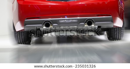 new car exhaust pipes  - stock photo